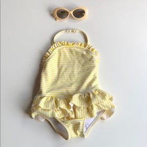 Circo | Yellow White Striped Halter Swimsuit | 9M